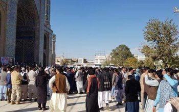 مظاهره ضد امریکایی مردم هرات در واکنش به ترور جنرال رازق