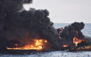 انفجار مهیب دو کشتی در دریای سیاه