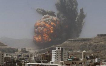 حمله جنگنده های عربستان بر پایتخت یمن