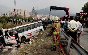 واژگون شدن بس در ایران 30 کشته و زخمی برجا گذاشت