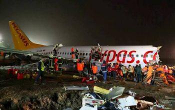 طیاره ترکیه هنگام نشست، تیکه تیکه شد