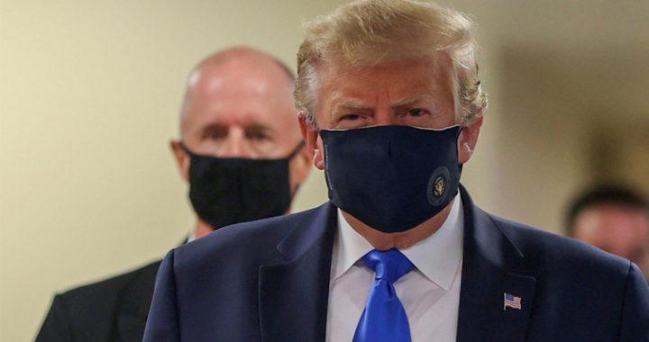 ترامپ برای نخستین بار از ماسک استفاده کرد